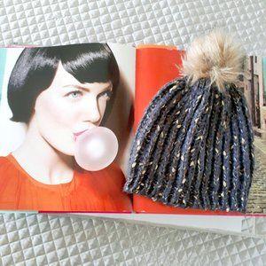 Grey & metallic thread knit pom pom beanie hat